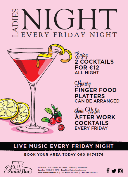 ladies night athlone, cocktails athlone, late bar athlone