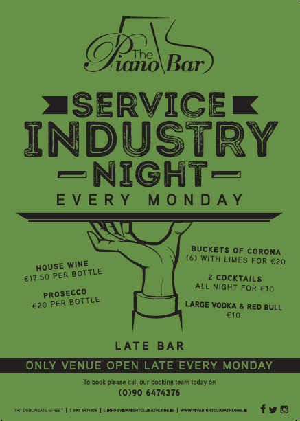 Industry Night Athlone, bar athlone, piano bar athlone , service industry